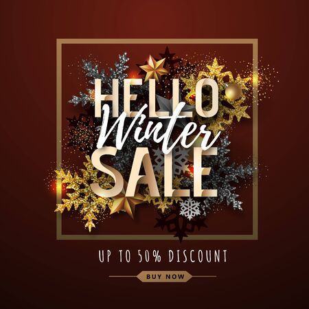 Christmas poster with golden snowflakes. Winter big sale poster.Christmas background