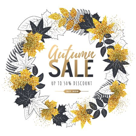 Autumn big sale typography poster with autumn leaves wreath. Nature concept