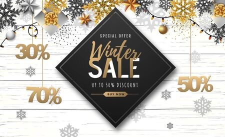 Winter poster with golden Christmas snowflakes and presents. Winter big sale poster. Wiinter background