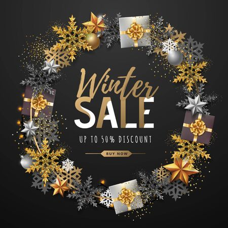 Winter big sale typography poster with snowflake wreath. Winter concept 向量圖像