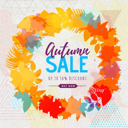 Autumn big sale watercolor poster with autumn leaves wreath. Autumn background 向量圖像
