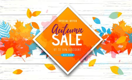 Autumn big sale watercolor poster with autumn leaves. Autumn background