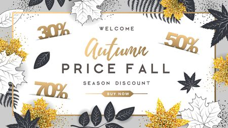 Autumn big sale typography poster with golden and black autumn leaves. Nature concept