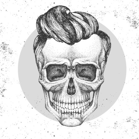 Hand drawing hipster skull illustration on grunge background. Hipster fashion style