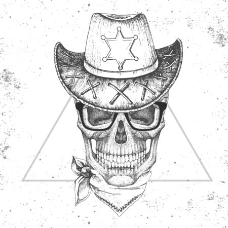 Hand drawing hipster illustration of skull with sheriffs hat on grunge background. Hipster fashion style