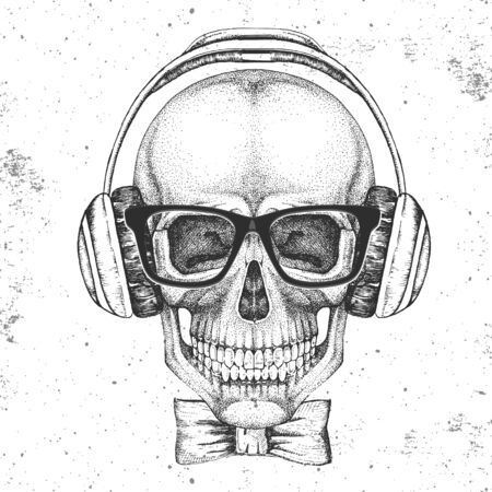 Hand drawing hipster illustration of skull with headphones on grunge background. Hipster fashion style  イラスト・ベクター素材