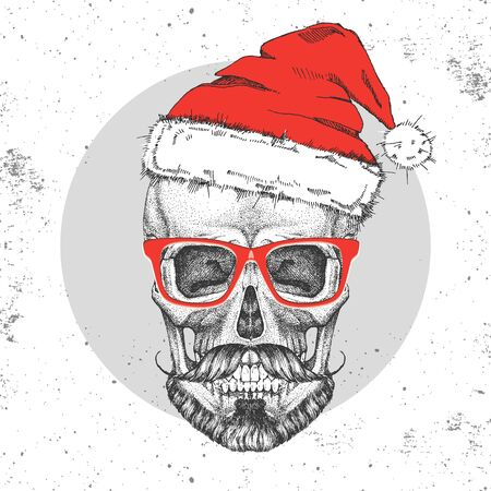 Hand drawing hipster illustration of skull with new year hat on grunge background. Hipster fashion style