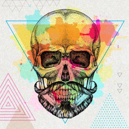 Hand drawing hipster skull illustration on artistic watercolor background. Hipster fashion style  イラスト・ベクター素材