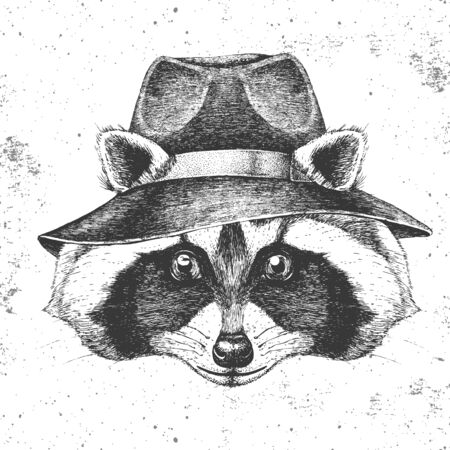Hipster animal raccoon in hat. Hand drawing Muzzle of animal raccoon