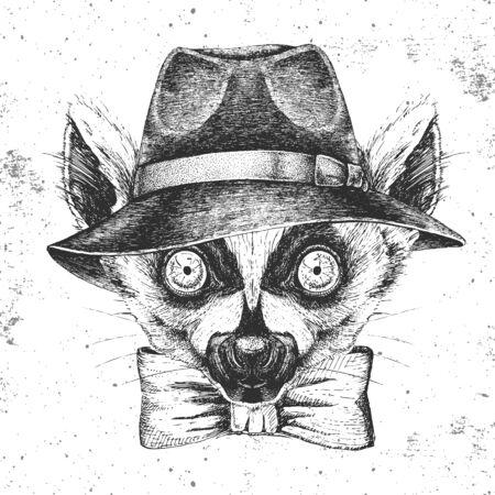 Hipster animal lemur in hat. Hand drawing Muzzle of animal lemur