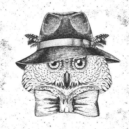 Hipster bird owl with hat. Hand drawing Muzzle of bird owl