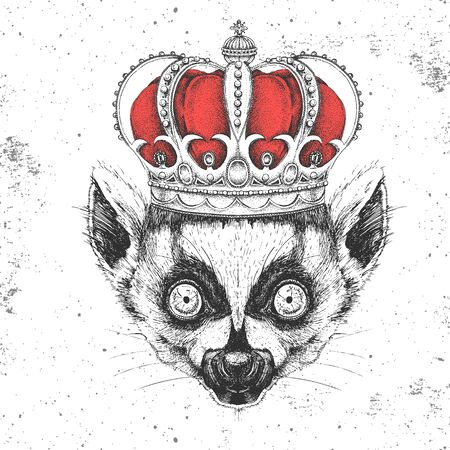 Hipster animal lemur in crown. Hand drawing Muzzle of animal lemur