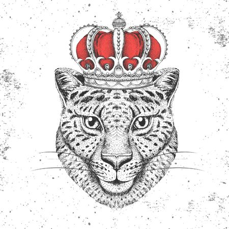 Hipster animal cheetah in crown. Hand drawing Muzzle of cheetah