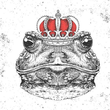 Hipster animal frog in crown. Hand drawing Muzzle of frog