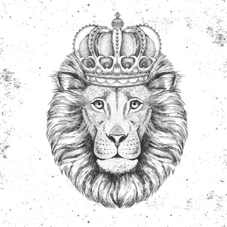 Hipster animal lion in crown. Hand drawing Muzzle of lion