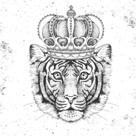 Hipster animal tiger in crown. Hand drawing Muzzle of tiger