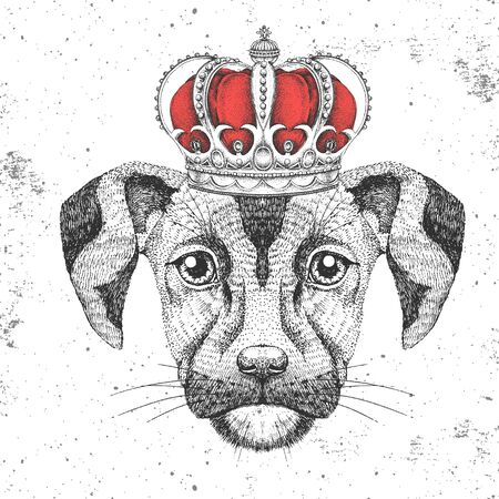 Retro Hipster animal dog in crown. Hand drawing Muzzle of dog