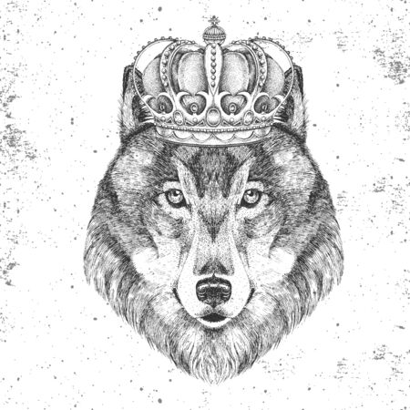 Hipster animal wolf in crown. Hand drawing Muzzle of wolf Иллюстрация