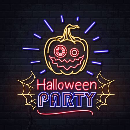 Neon sign halloween party with jack-o-lantern and spider web. Vintage electric signboard.