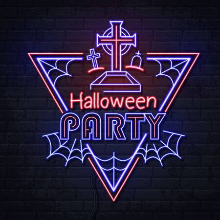 Neon sign halloween party with cemetery and spider web. Vintage electric signboard.