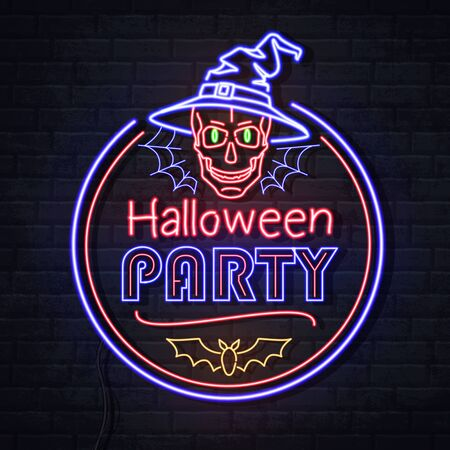 Neon sign halloween party with skull and spider web. Vintage electric signboard.