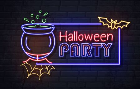 Neon sign halloween party with cauldron and potion. Vintage electric signboard. Stock Illustratie