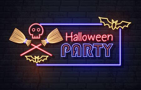 Neon sign halloween party with skull and wich broom. Vintage electric signboard. Иллюстрация