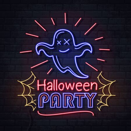 Neon sign halloween party with ghost and spider web. Vintage electric signboard.
