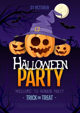 Halloween disco party poster with jack o lantern pumpkin and full moon