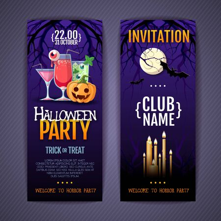 Halloween disco cocktail party poster with jack o lantern pumpkin and full moon.