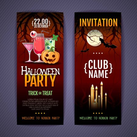 Halloween disco cocktail party poster with jack o lantern pumpkin and full moon. 矢量图像