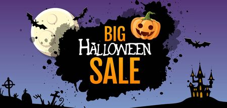 Halloween big sale poster with jack o lantern pumpkin and full moon