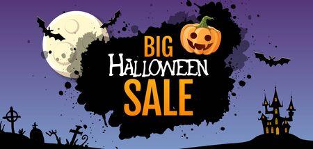 Halloween big sale poster with jack o lantern pumpkin and full moon