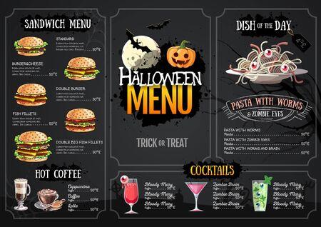Halloween menu design with jack o lantern. Restaurant menu Vector Illustratie