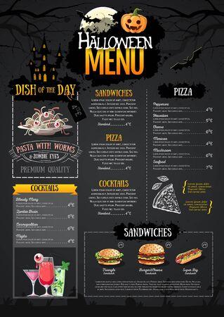Halloween-Menü-Design mit Jack-O-Laterne. Speisekarte