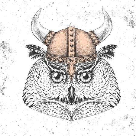 Hipster bird owl wearing a viking helmet.