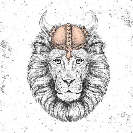 Hipster animal lion wearing a viking helmet. Illusztráció