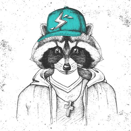 Hipster animal raccoon dressed in cap like rapper. Hand drawing Muzzle of raccoon