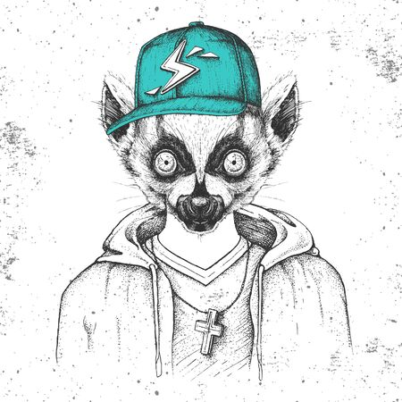 Hipster animal lemur dressed in cap like rapper. Hand drawing Muzzle of lemur