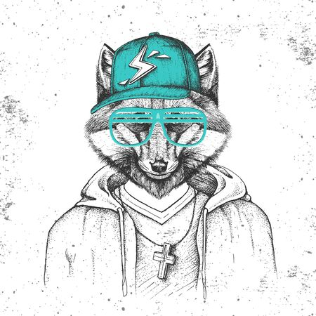 Hipster animal fox dressed in cap like rapper. Hand drawing Muzzle of fox Stock fotó - 131420012