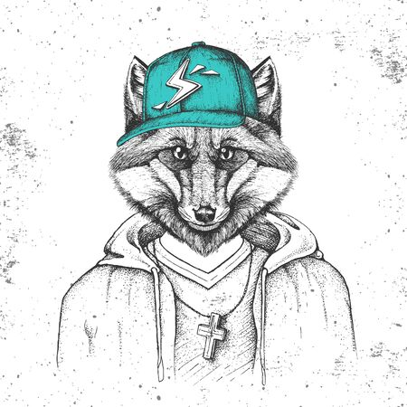 Hipster animal fox dressed in cap like rapper. Hand drawing Muzzle of fox
