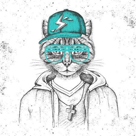 Hipster animal cat dressed in cap like rapper. Hand drawing Muzzle of cat