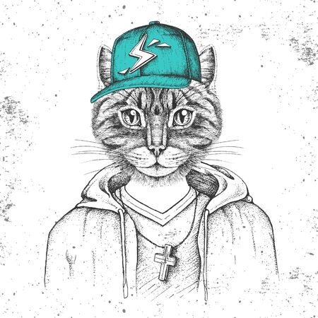 Hipster animal cat dressed in cap like rapper. Hand drawing Muzzle of cat Stock fotó - 131420015