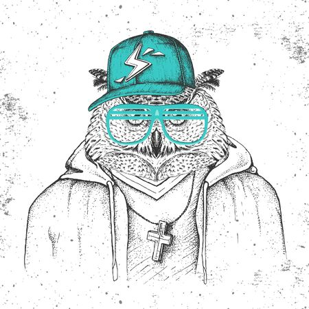 Hipster bird owl dressed in cap like rapper. Hand drawing Muzzle of owl