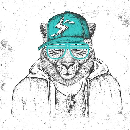 Hipster animal cheetah dressed in cap like rapper. Hand drawing Muzzle of cheetah Illusztráció