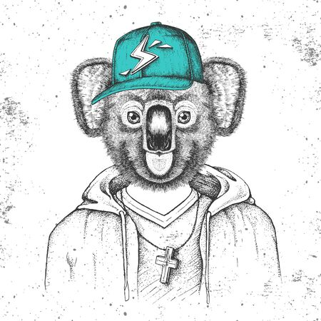 Hipster animal koala dressed in cap like rapper. Hand drawing Muzzle of koala