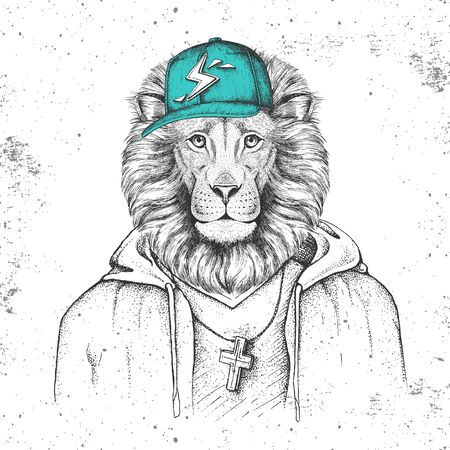 Hipster animal lion dressed in cap like rapper. Hand drawing Muzzle of lion Illusztráció
