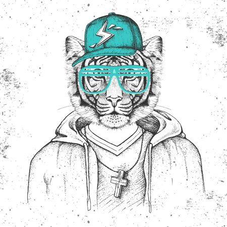 Hipster animal tiger dressed in cap like rapper. Hand drawing Muzzle of tiger