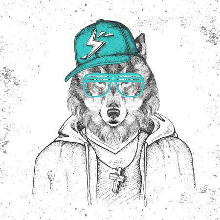 Hipster animal wolf dressed in cap like rapper. Hand drawing Muzzle of wolf
