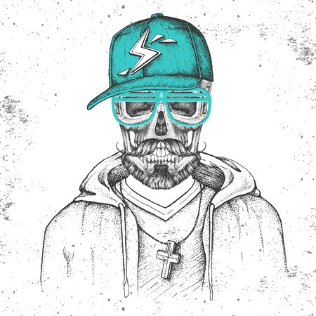 Hand drawing hipster skull with cap dressed like rapper on grunge background. Hipster fashion style Illusztráció